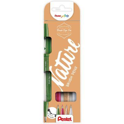 Pentel Ecsetfilc szett 4 dbos (zöld+pink+barna+szürke) SES15N-4