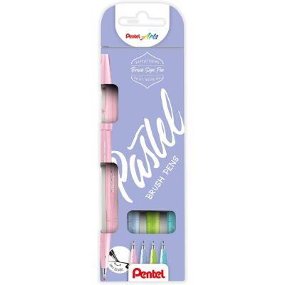 Pentel Ecsetfilc szett 4 dbos (világos pink+világos kék+szürkés kék+világos zöld) SES15P-4