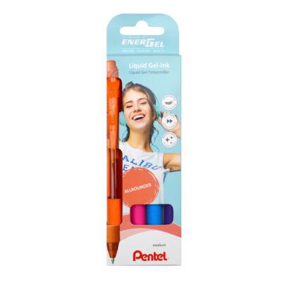 Pentel Zselés rollertoll szett EnerGelX 4dbos (nar+pink+vkék+lila) BL107-4COL
