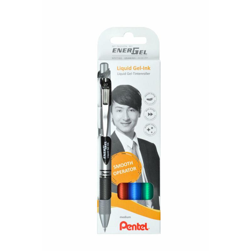Pentel Zselés rollertoll szett EnerGel 4dbos (fek+kék+pir+zö) BL77-4