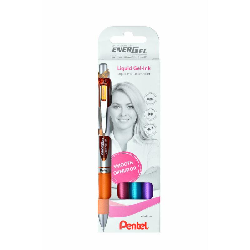Pentel Zselés rollertoll szett EnerGel 4dbos (nar+pink+vkék+lila) BL77-4COL