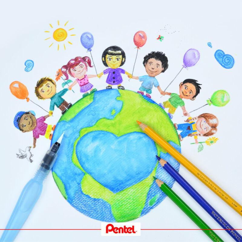 Pentel akvarell színes ceruza készletet és víztartályos ecsetet tartalmazó kreatív szett