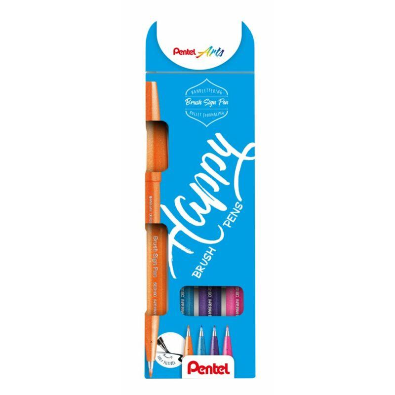 Pentel Ecsetfilc szett 4 dbos (or+pin+vkék+lila) SES15-4COL