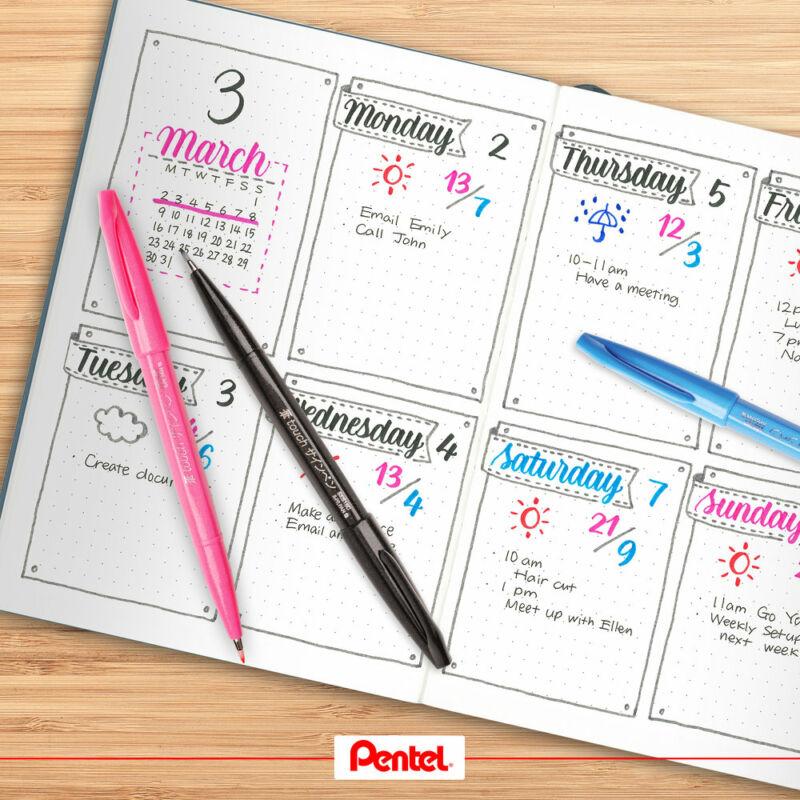 Pentel Ecsetfilc szett útmutatóval 4 dbos (fek+pir+kék+zö) SES15/4-SET