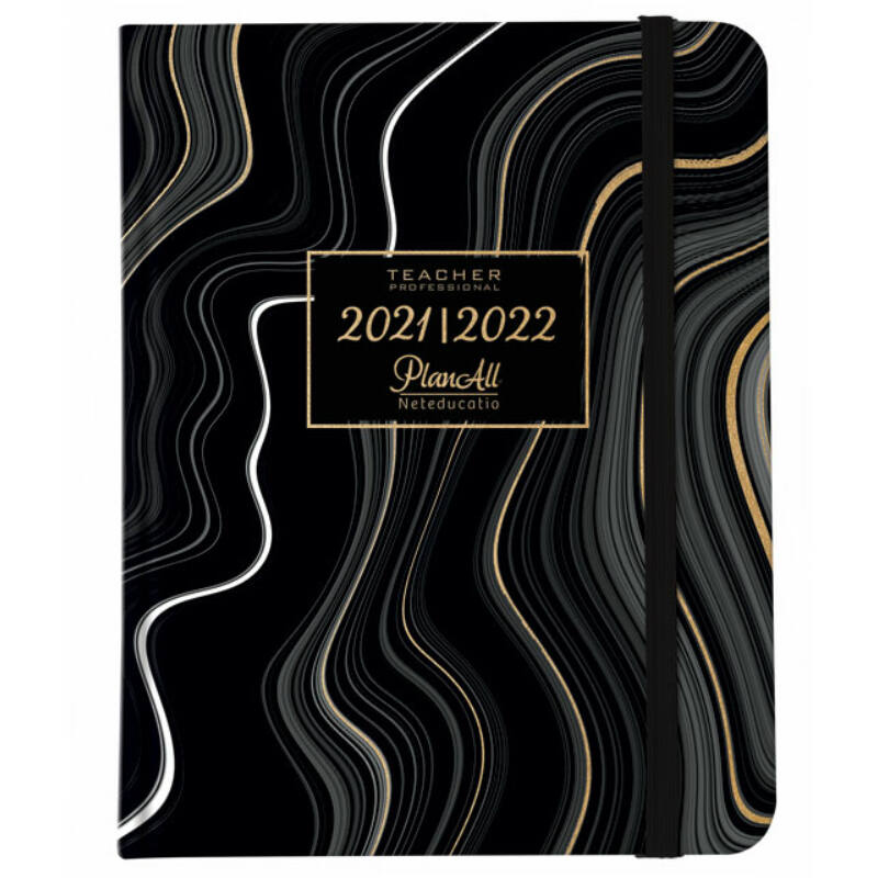 Mid-year tanári tervező B5 PlanAll Teach 2022 Black waves + Pentel BL407MAA